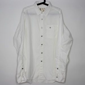 Billy Reid Pearl White  Snap Button Up Shirt A502